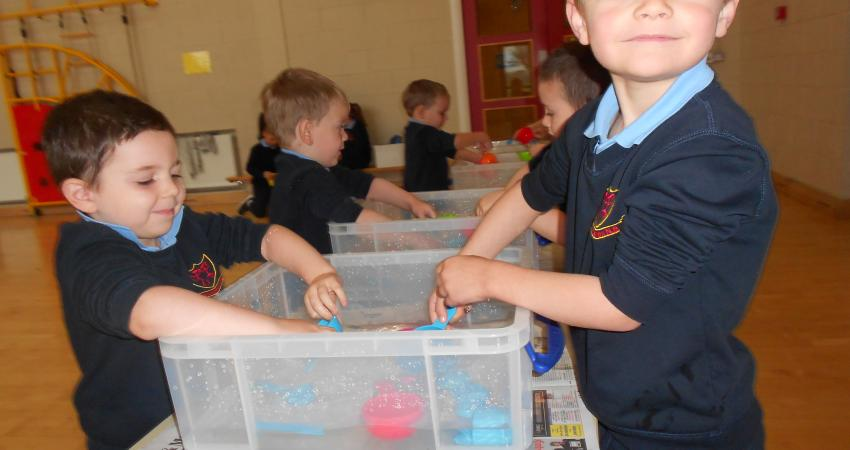 Water play during Maths Week