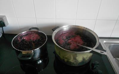The jam was boiled on the cooker.